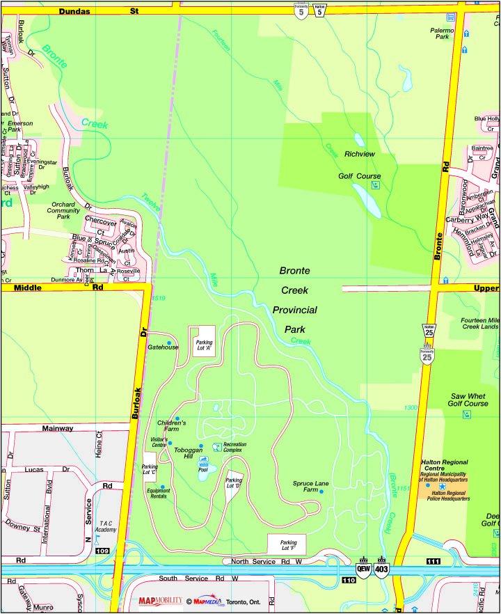 Bronte Creek Provincial Park Map Birding – South Peel Naturalists' Club